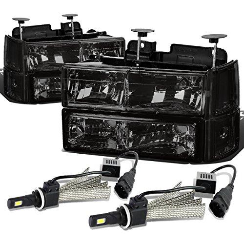(For GMC C/K Series 8pc Smoked Lens Clear Corner Headlight W/Bumper Light + 9006 LED Conversion Kit)