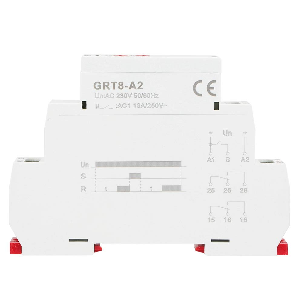 AC230V Rel/é temporizador autom/ático GRT8-A2 230V AC//DC 12V-240V Rel/é de tiempo de carril Din de una sola funci/ón