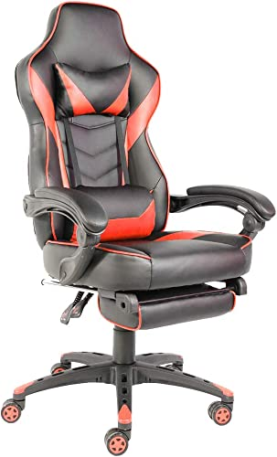 Cheap Office Racing Video Gaming Chair Ergonomic Swivel PU Leather Bucket Seat High Back Chair Footrest Padding Lumbar Support Headrest computer gaming chair for sale