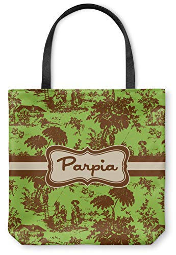 Green & Brown Toile Canvas Tote Bag - Small - 13