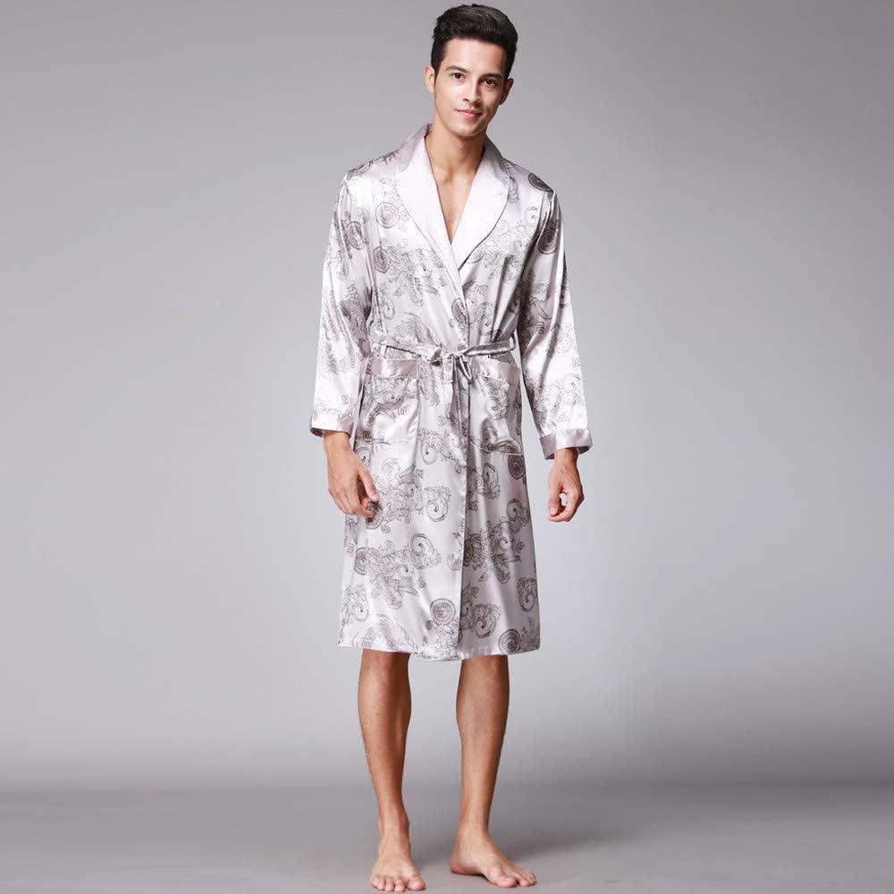 iLXHD Mens Satin Robe Dragon Luxurious Silk Spa Long Sleeve House Kimono Bathrobe
