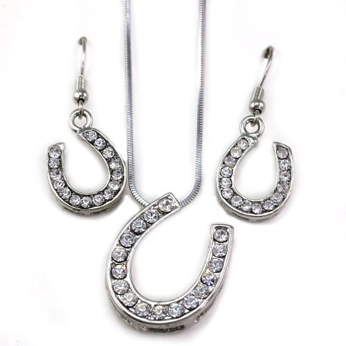 Cowgirl Lucky Western Horseshoe Horse Shoe Charm Pendant Necklace & Earrings 2-piece Set Jewelry