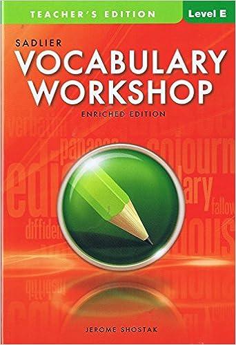 Vocabulary Woorkshop Teacher S Edition Level E Grade 10