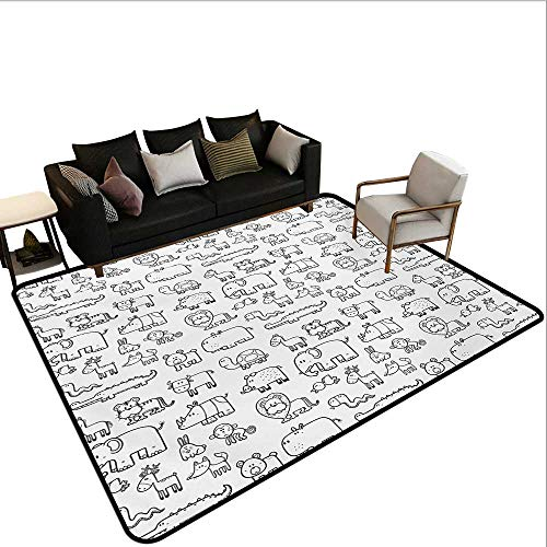 Indoor Floor mat,Wild Animals Set in Coloring Book Style African Safari Fauna in Monochrome Design 6'6