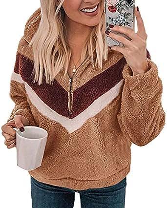 ZESICA Women's Long Sleeve Half Zipper Color Block Patvhwork Casual Sherpa Fleece Pullover Sweatshirt Outwear Jacket Coat with Pocket Brown