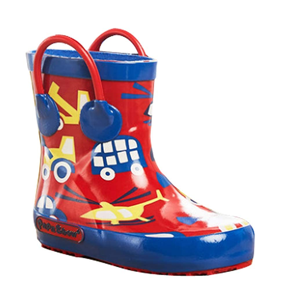 Cwait Kids Animal Anti-Slip Rubber Rain Boots with Easy-on Handles Waterproof