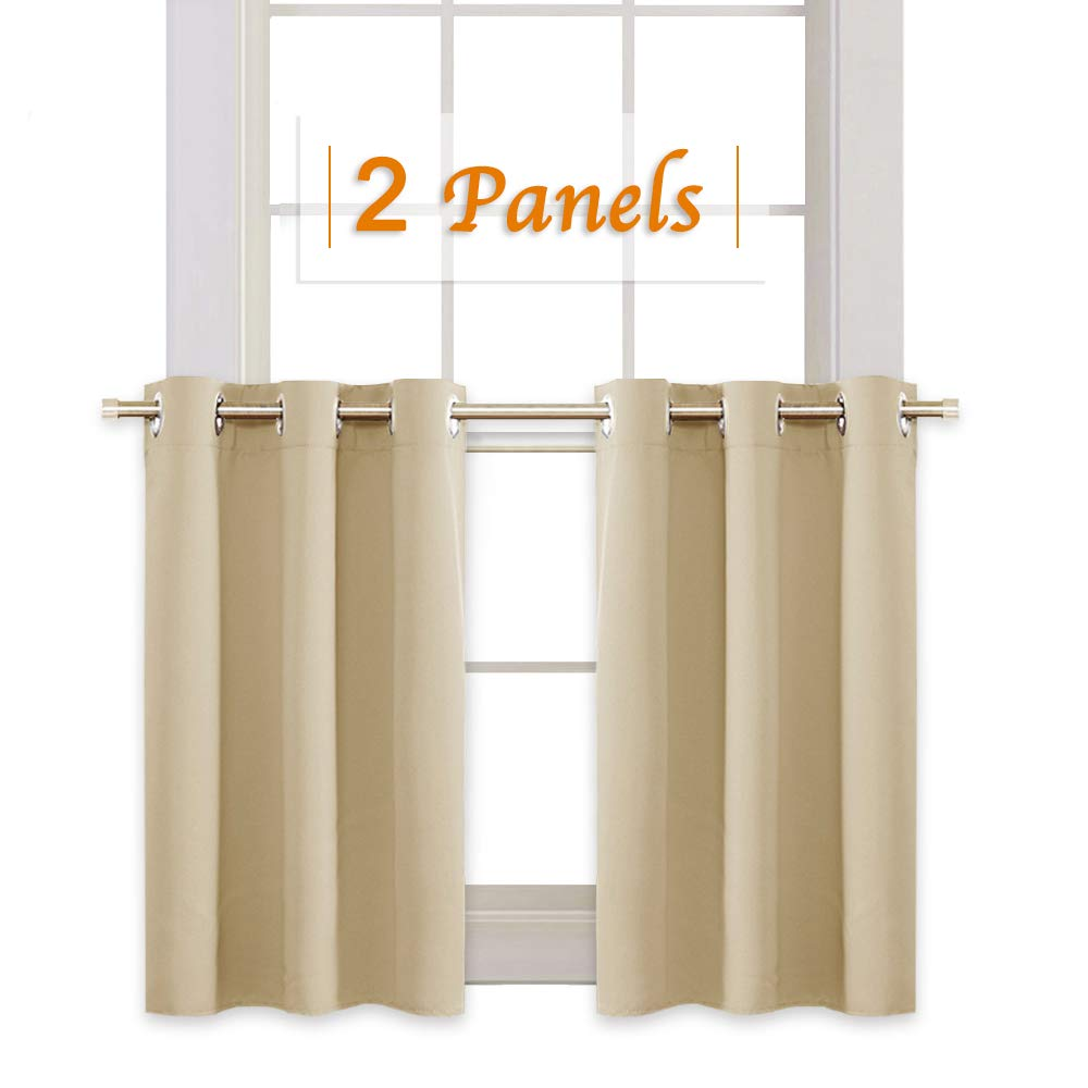 RYB HOME Thermal Insulated Tiers Short Curtains for Living Room, Plain Ring Top Small Window Treatment Panels for Office/Kitchen, 42 in Wide by 36 in Long, Biscotti Beige, Double Pieces