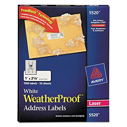 (AVE5520 - Averyreg Weatherproof Mailing Labels with TrueBlock Technology)