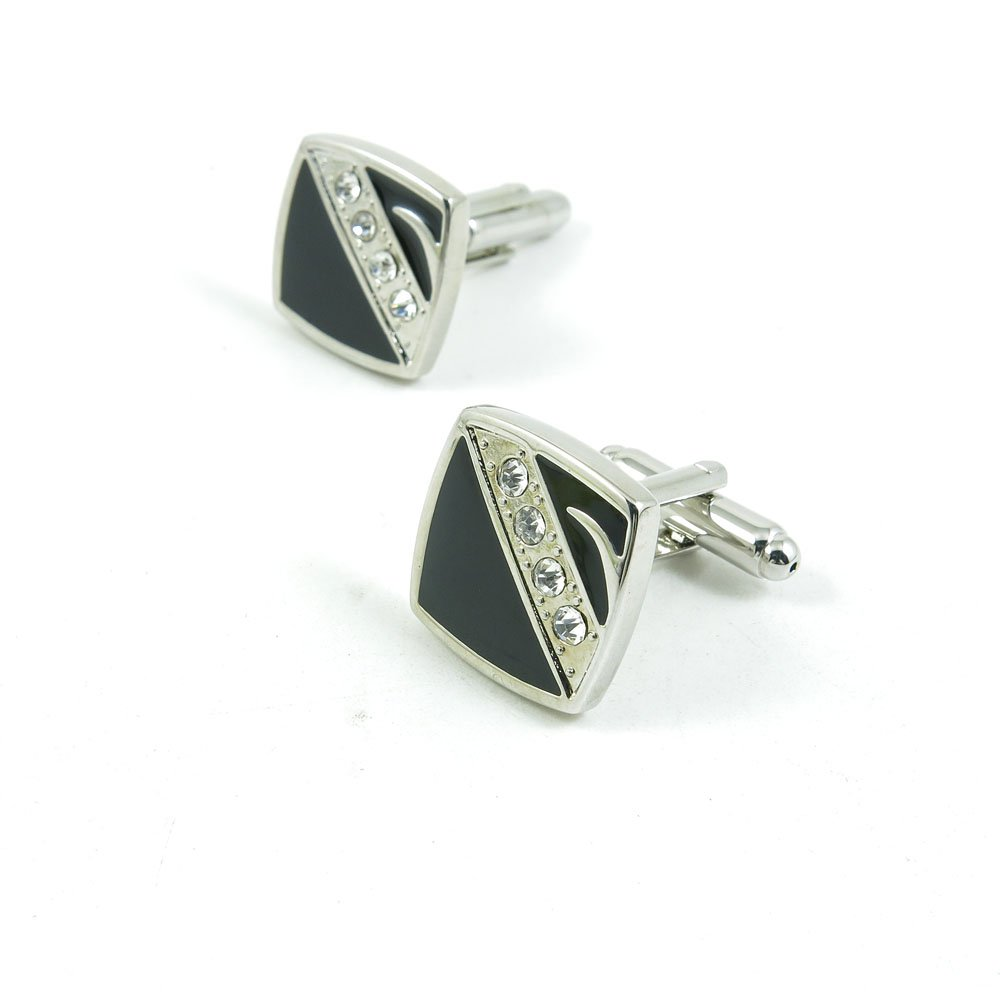 50 Pairs Cufflinks Cuff Links Fashion Mens Boys Jewelry Wedding Party Favors Gift 625GY0 Zircon Black Square