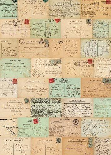 (Cavallini & Co. Paris Postcards Decorative Decoupage Poster Wrapping Paper Sheet)