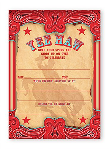 Cowboy Party Invitations - 10 Invitations + 10 (Rodeo Birthday Invitations)