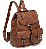 Backpack Purse for Women,VASCHY Fashion Faux Leather Buckle Flap Drawstring Backpack for College with Two Front Pockets Brown