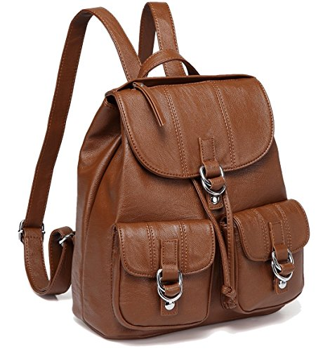 Backpack Purse for Women,VASCHY Fashion Faux Leather Buckle FlapDrawstring Backpack for College with Two Front Pockets Brown
