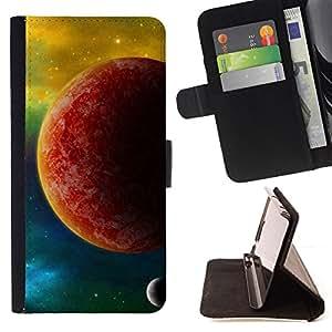 BullDog Case - FOR/Sony Xperia Z1 Compact D5503 / - / red planet mars yellow galaxy stars universe /- Monedero de cuero de la PU Llevar cubierta de la caja con el ID Credit Card Slots Flip funda de cuer