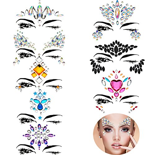 TOODOO 8 Sets Face Gems Rhinestone Colorful Sticker Tattoo Jewelry Stick on Face Festival Jewels for Forehead Body Decorations (Style 5)