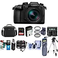 Panasonic Lumix DC-GH5 Mirrorless Camera, Black, with Leica DG Vario 12-60mm F/2.8-4.0 Lens - Bundle with 64GB SDHC U3 Card, Spare Battery, Case, Tripod, Remote Shuter Release, Software Pack and More