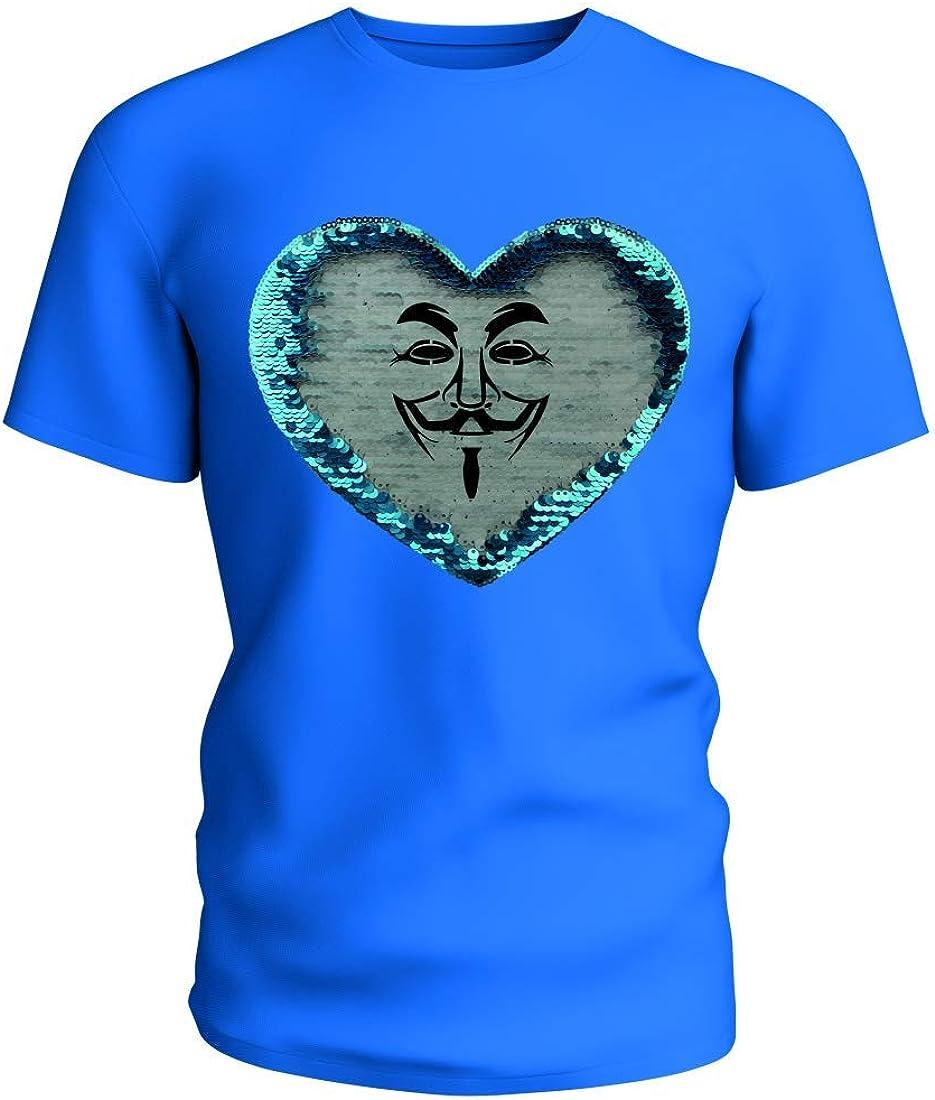 Camiseta reversible con lentejuelas Vendetta – Máscara de hombre – Fawkes – Película facial – Personalidad – Anonym Hollywood V – Vendetta – levantamiento para hombre – Mujer – Niño Azul/azul. XXL: Amazon.es: Ropa y accesorios
