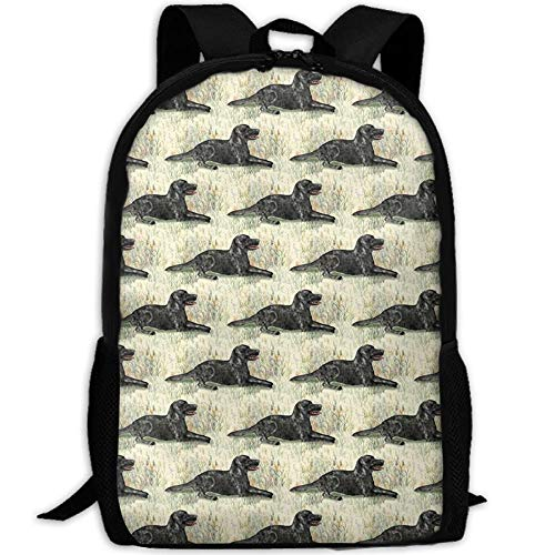 DKFDS Backpacks Black Lab Lying In Wildflowers Unisex College Bag Fits up Laptop Casual Rucksack Waterproof School Backpack -