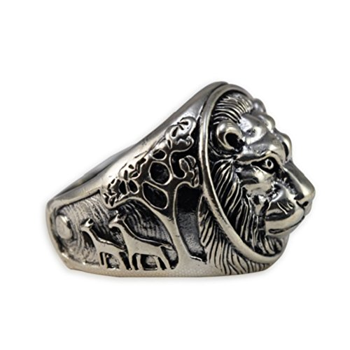 Moon Wings Solid Sterling Silver Lion Vintage Mens Ring by Moon Wings