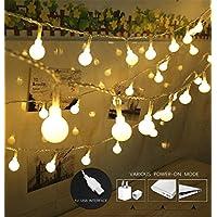100 luces de cadena con forma de globo LED, luces de Navidad con forma de bola, luz decorativa para interiores /exteriores, alimentado por USB, 39 pies, luz blanca cálida - para la decoración de bodas en el árbol de Navidad de Patio Garden Party by
