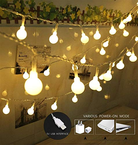 100 LED Globe String Lights, Ball Christmas Lights, Indoor/Outdoor Decorative Light, USB Powered, 39 Ft, Warm White Light - for Patio Garden Party Xmas Tree Wedding Decoration by SPIRITUP ()