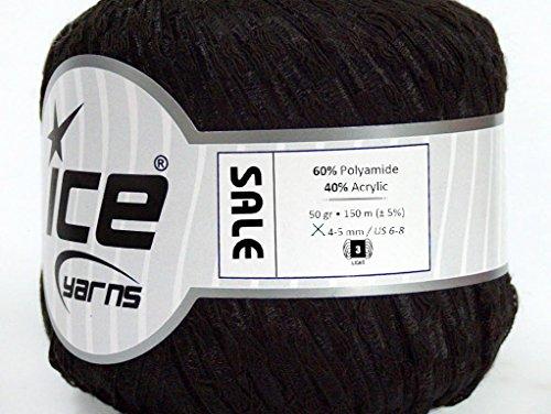 Lot of 6 Skeins ICE Sale Ribbon Hand Knitting Yarn Black -