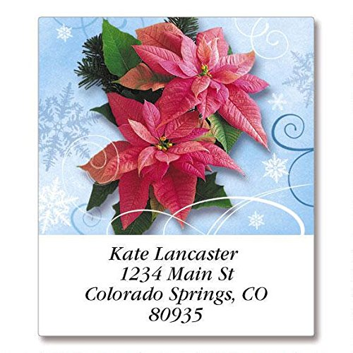 Royal Poinsettia Self-Adhesive, Flat-Sheet Select Address Labels