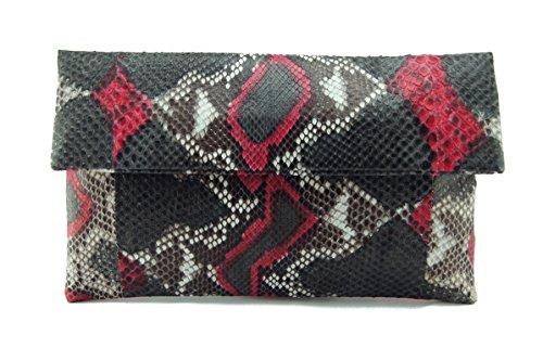 (Genuine Onyx & Scarlet Red Python Leather Classic Foldover Clutch Bag)