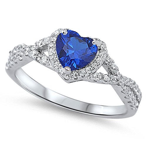 Oxford Diamond Co Sterling Silver Heart Halo Simulated Gemstone Promise Ring Available (10, Blue (Simulated Sapphire)) (Heart 2 Ring Sapphire)