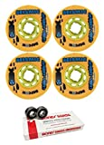 73mm Seismic Skate Systems Speed Vent Defcon Longboard Skateboard Wheels with Bones Bearings - 8mm Bones Swiss Skateboard Bearings - Bundle of 2 items