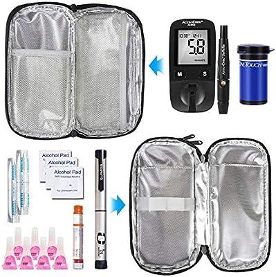 YOUSHARES Insulina Bolsa Para Viaje - Diabéticos Estuche Para Adrenalina y Otros Medicamentos y Plumas con 2 Bolsas de Gel, Doble Capa Gris: Amazon.es: Salud y cuidado personal