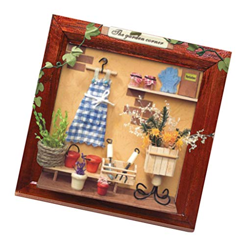 Brosco DIY Mini Wooden Photo Frame Dollhouse Furniture Miniature The Garden Corner ()