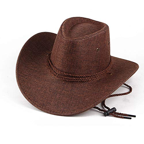 Real Man Spring and Summer Hats, Male Hemp Material, Large Rim Shade, Sunscreen, Sunhat, Western Cowboy Hat, Horse-Riding Hat, Male (Coffee)