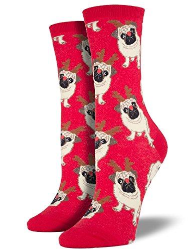Socksmith Women's Antler Pug Crew Socks, Red, Medium