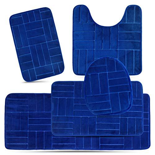 Effiliv Bathroom Rugs Set 5 Piece Memory Foam Mats, Extra Soft Anti-Slip Shower Large Bath Rug Mat - Happy Feet, Happy Life, Royal Blue Line Design