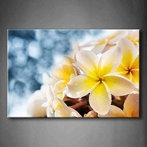 Yellow Orange White Frangipani Plumeria Rubra Flowers Bouquet With Fresh Water Dew Wall Art Painting Pictures Print On Canvas Flower The Picture For Home Modern (Canvas Flowers)