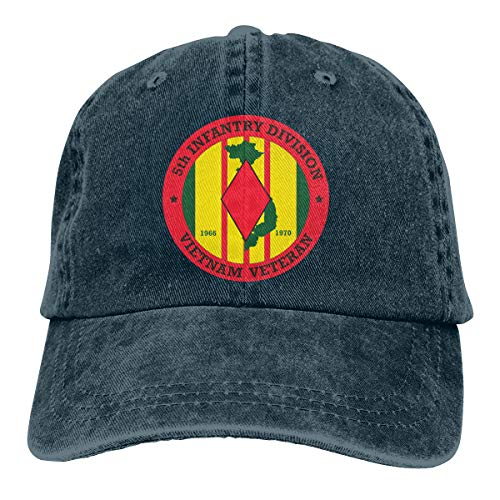 - 5th Infantry Division Vietnam Dad Hat Denim Baseball Cap Adjustable Polo Trucker Unisex Style Headwear
