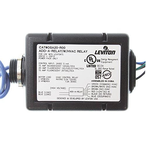 Leviton OSA20-R00 15A INC 20A FL 120-277VAC 15A FL 347VAC, Add-A-Relay for Occupancy Sensor with HVAC Relay 0.5A 125VAC 1.0A 30VDC, Black by Leviton