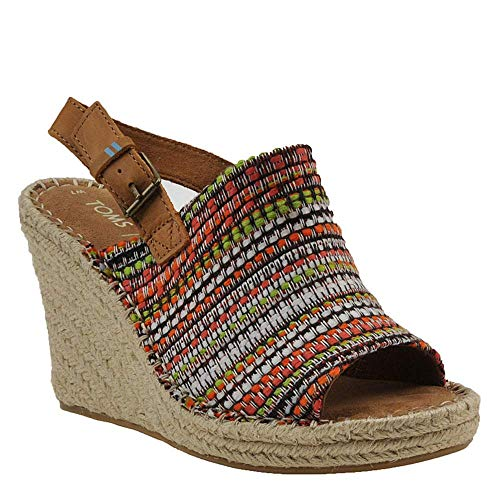 Woven Leather Espadrilles - TOMS Women's Monica Wedge Sandals (7 B US, Cherry Tomato Global Woven)