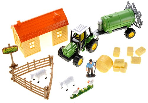 PowerTRC Sheep Barn Farming Toys Set with Tractor, Farm Animals and Farm Man for Toddlers