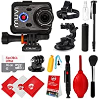 Veho Muvi K-Series K-2 NPNG 1080p 16MP HD WiFi Waterproof Action Camera with 16GB + Carrying Case +Monopod + Stabilizing Hand Grip + Floating Grip + Head Strap + Tripod Mount VCC-006-K2NPNG