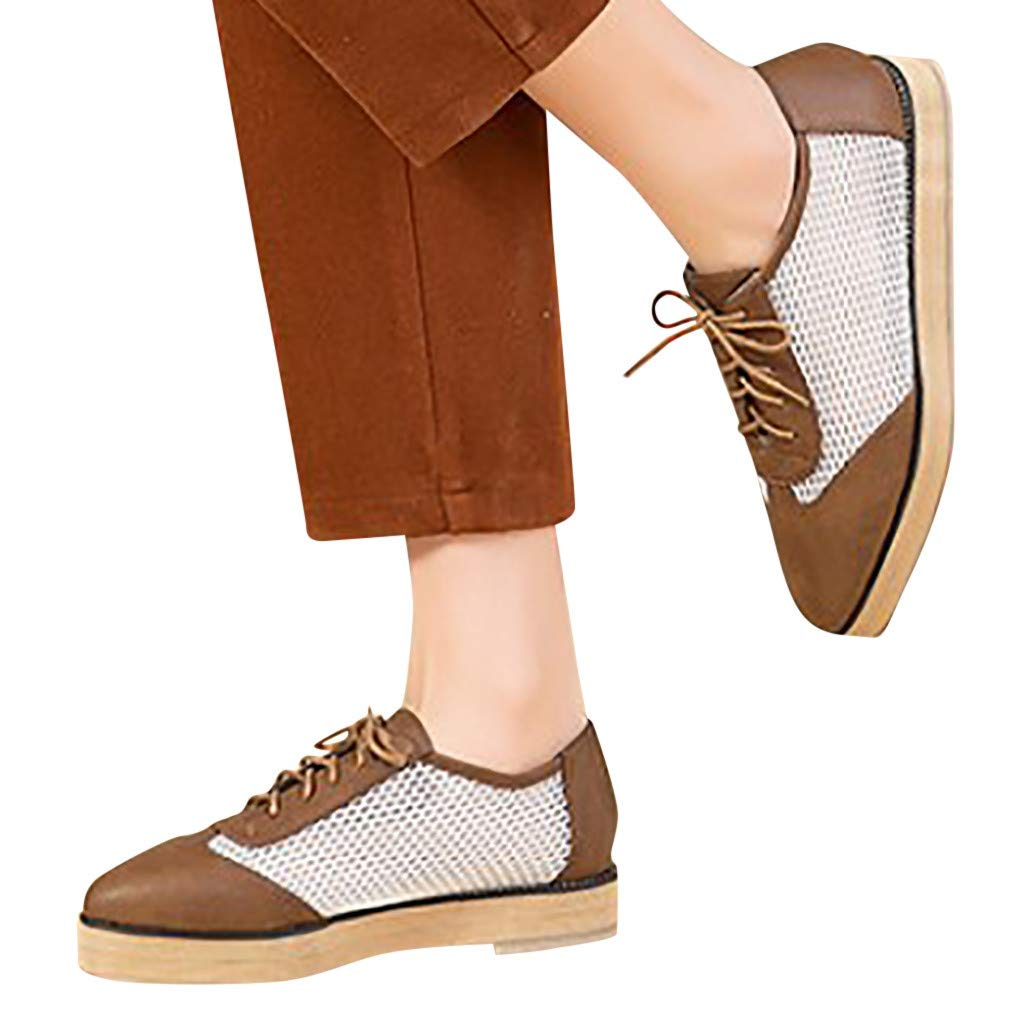 Womens Platform Wedge Sneakers Wingtip Leather Flat Oxfords Lace-Up Driving Loafers Hollow Out Comforty Shoes (US:7.5(39), Brown) by Dasuy