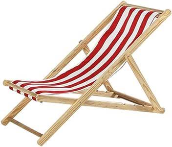 Dsrgwe Tumbonas Jardin Plegable, Sillas reclinables de Madera al Aire Libre Plegable Tumbona sillas de jardín Hamacas Balcón Porche Sillas de Playa (Color : Red and White, Size : Wood Color): Amazon.es: