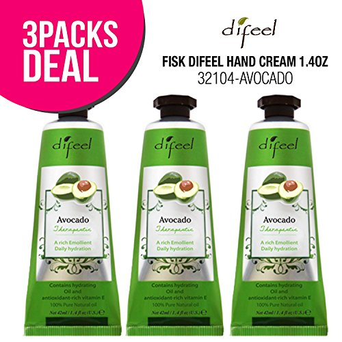(3 PACK) Difeel Hand Cream 1.4oz (AVOCADO) for Dry Hand Aging Hand, Moisturizing