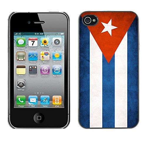 Omega Case PC Polycarbonate Cas Coque Drapeau - Apple iPhone 4 / 4S ( Cuba Grunge Flag )