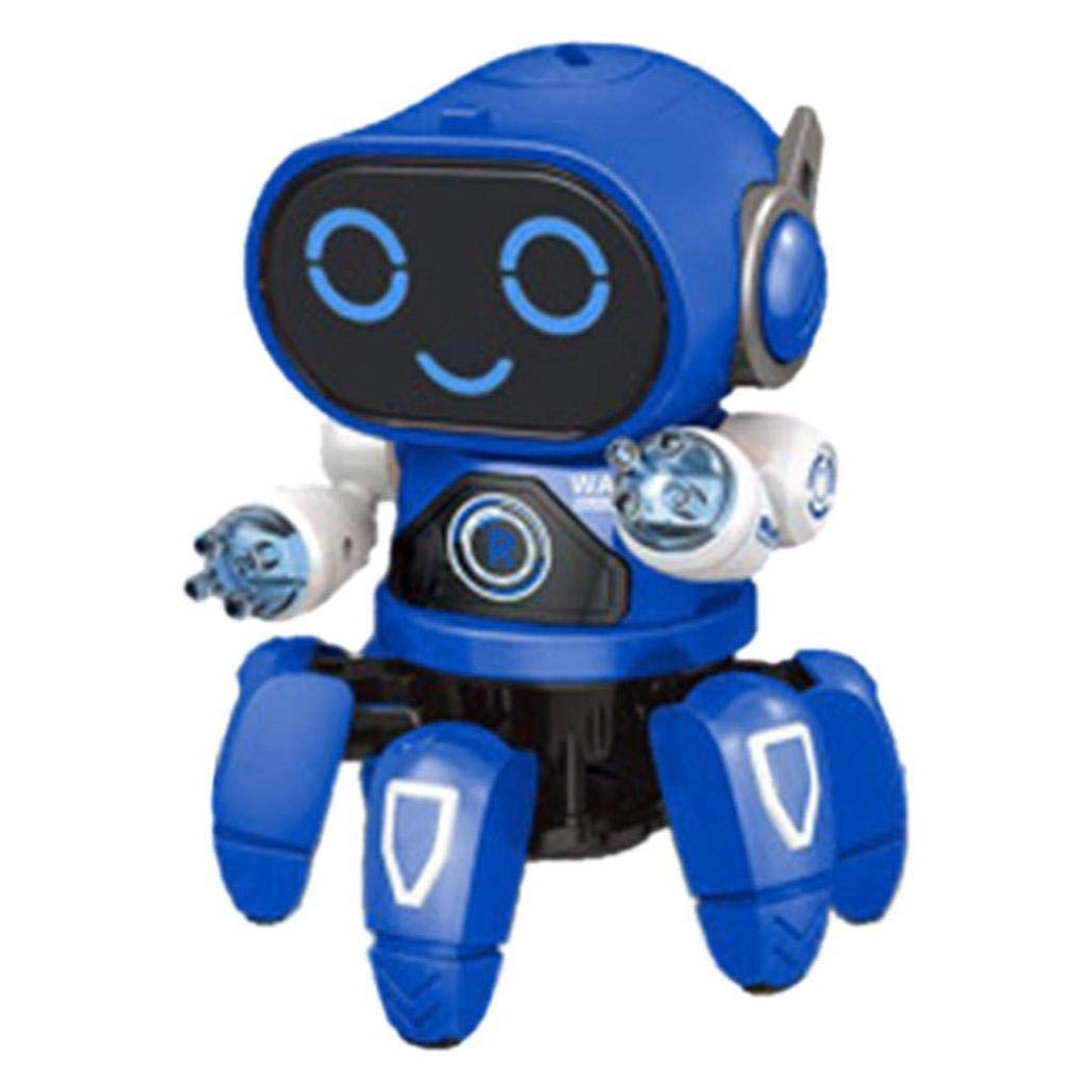 Caiuet Children Dancing Robot 7-Color Light Music Six-Claw Fish Electronic Interactive Intelligent Multi-Function Robotics Toy Gift for Boys Girls