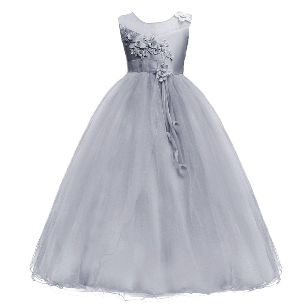 OBEEII Little Big Girl Flower Tutu Dress Junior Bridesmaid First Communion Gown