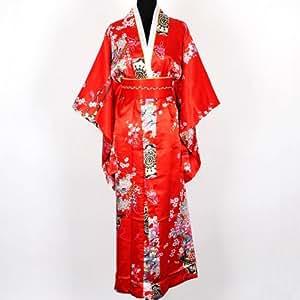 Shanghai Tone® Kimono De Lujo Bata Vestido Japonés Yukata con Cinturón Cinta Obi Unitalla