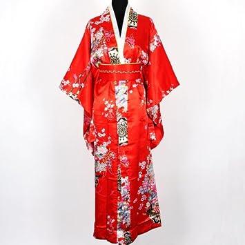 9NN Kimono Túnica Yukata Japonesa de lujo Vestido Rojo con Obi Talla Única