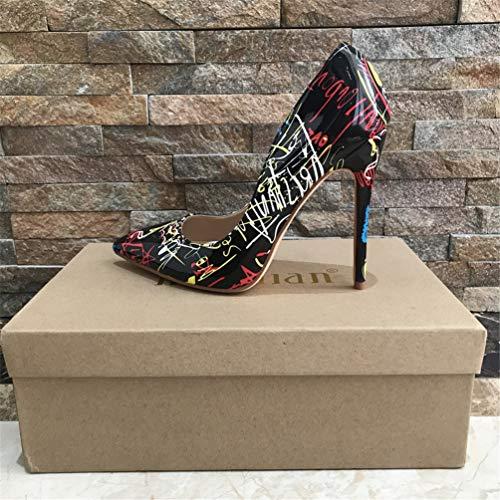 Mariage Femmes Coloré Noir Mode Graffiti Talons Fête 8cm Chaussures Haute Escarpins Pompes Sexy De Hauteur 1RAqa1